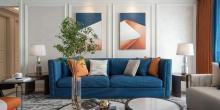 175㎡现代轻奢四居室新房,蓝橙配的空间,优雅舒适,幸福的四口之家!
